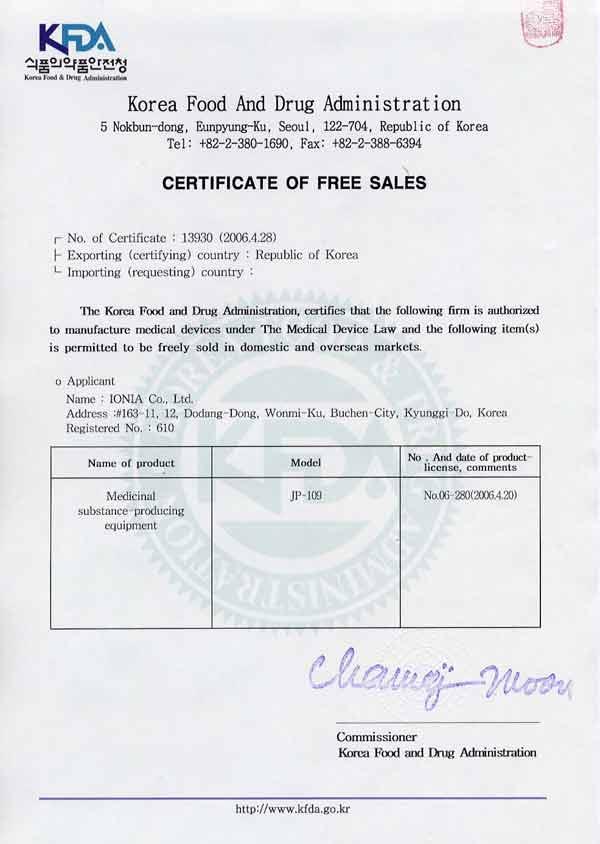 Certifiering från Koreanska FDA